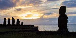 Moai are silhouetted by the setting sun on Easter Island