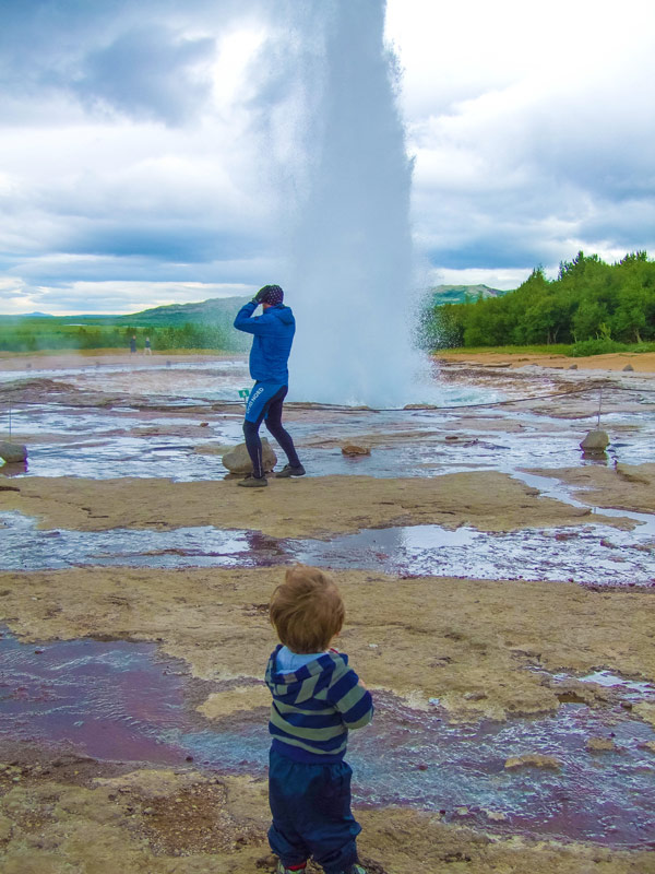 Strokkur Geysir in Iceland erupting on Icelands Golden Circle Tour with kids