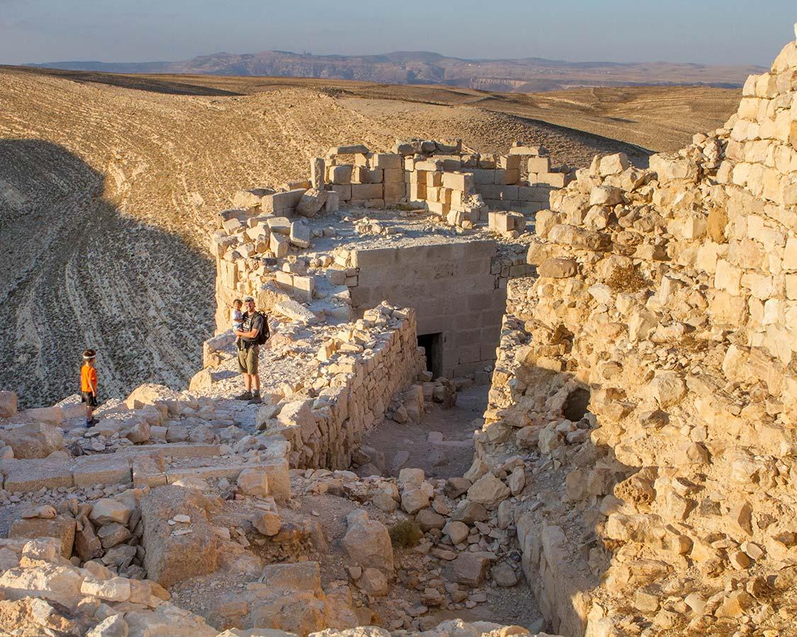 A family explores Shobak Castle Jordan during a Jordan Itinerary