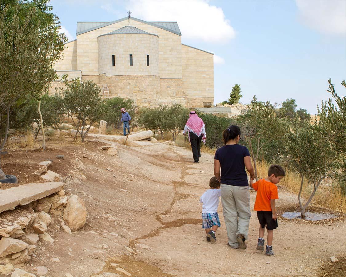 Walking to the church at Mount Nebo Jordan