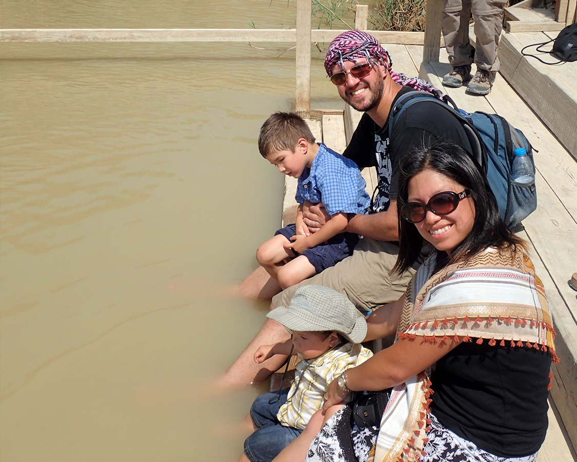 Bathing our feet in the River Jordan at Bethany Beyond the Jordan
