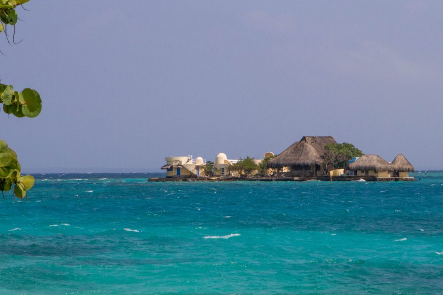 View of an island that is part of the Rosario Islands from Pirate Island.