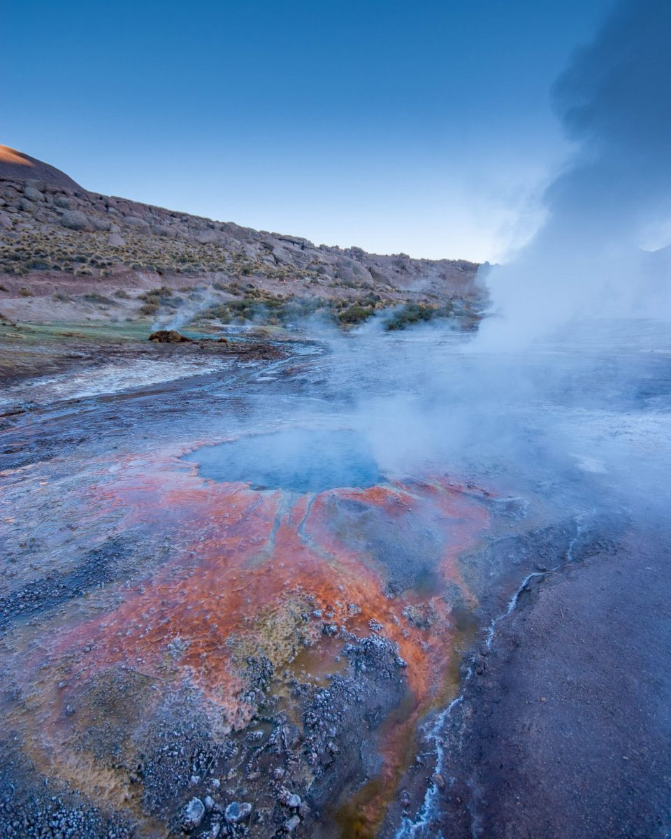 Colorful mineral deposits can be seen in El Tatio Geyser field in Chile.