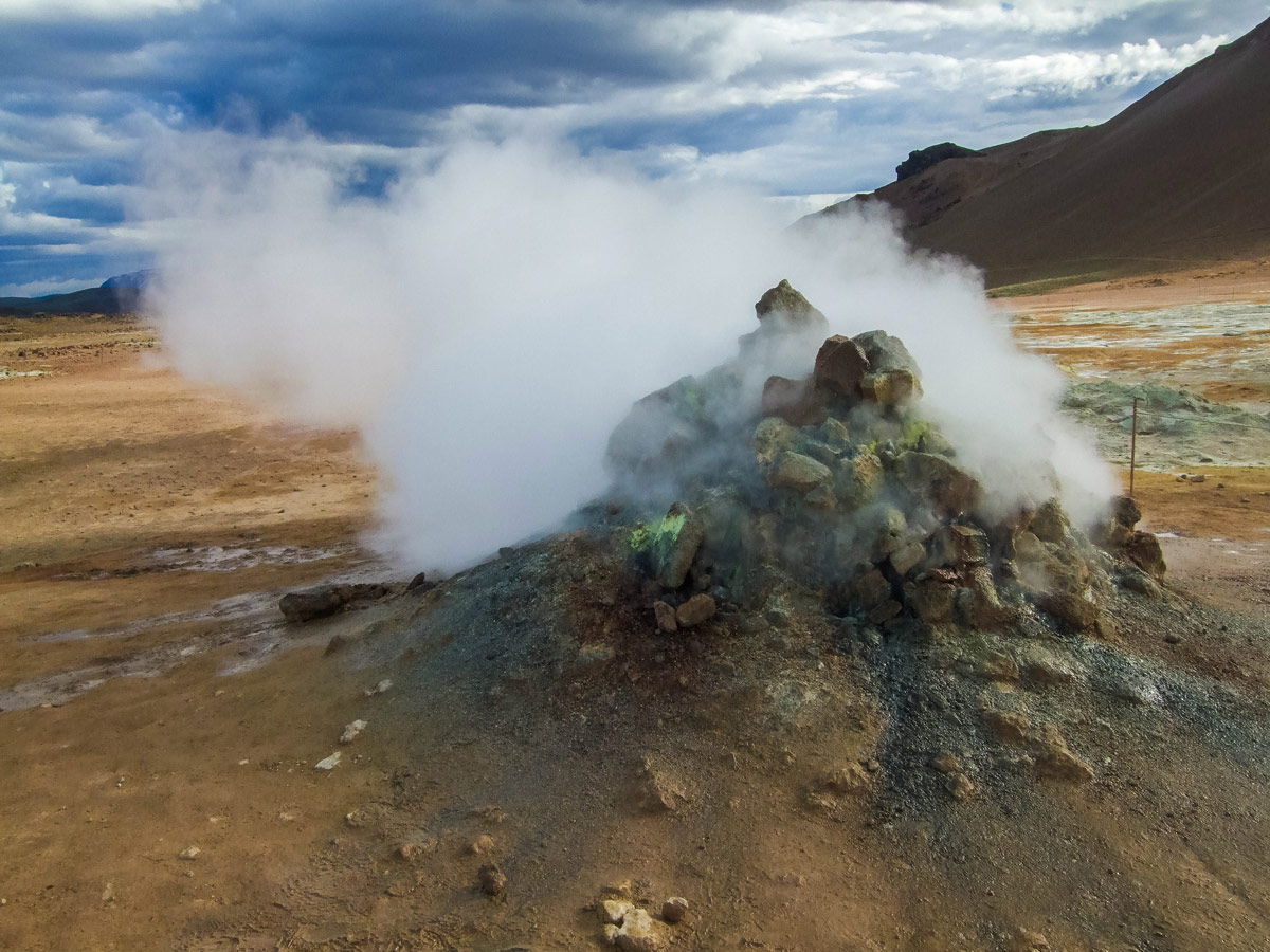 A steam vent at Namaskard Pass, Iceland - An Epic 14 Day Iceland Itinerary