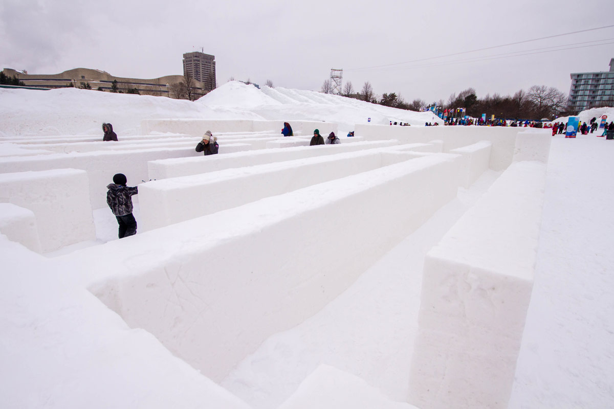 Giant maze made of snow