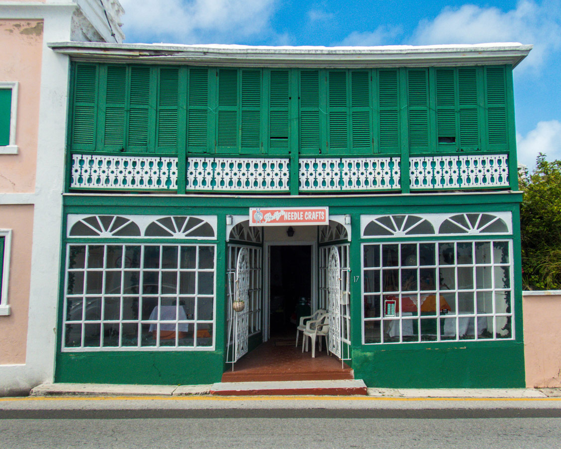 Wooden detailing on a storefront in St George Bermuda.