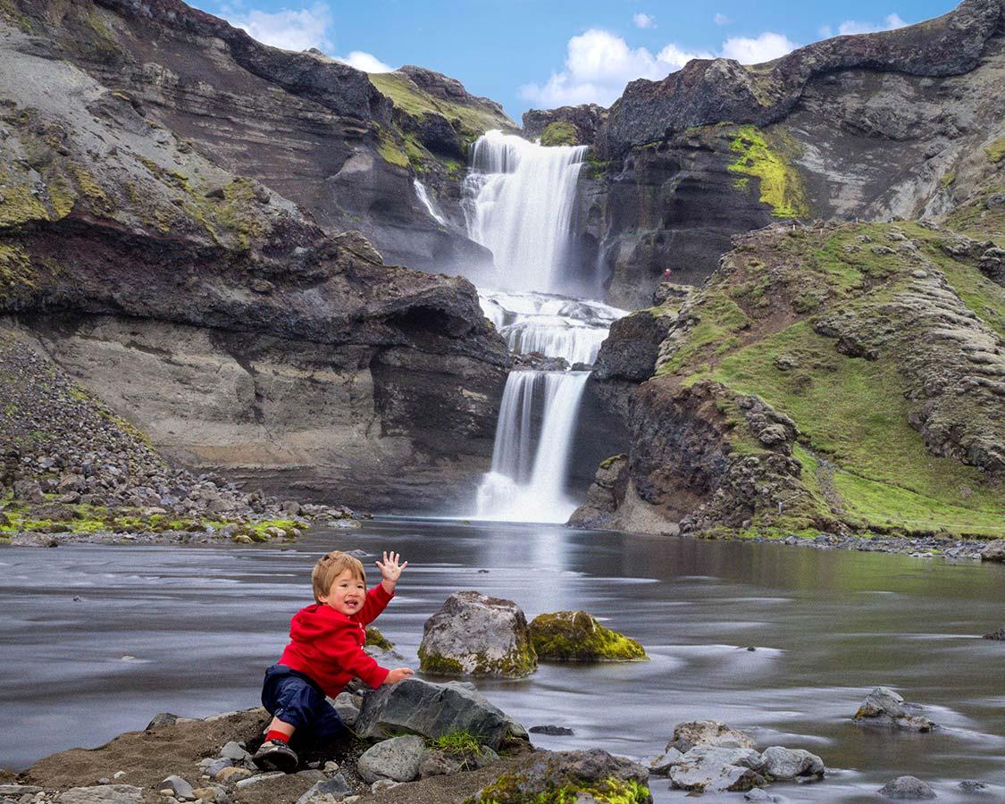 Hiking with kids in Iceland - Waterfalls at Eldgja Canyon