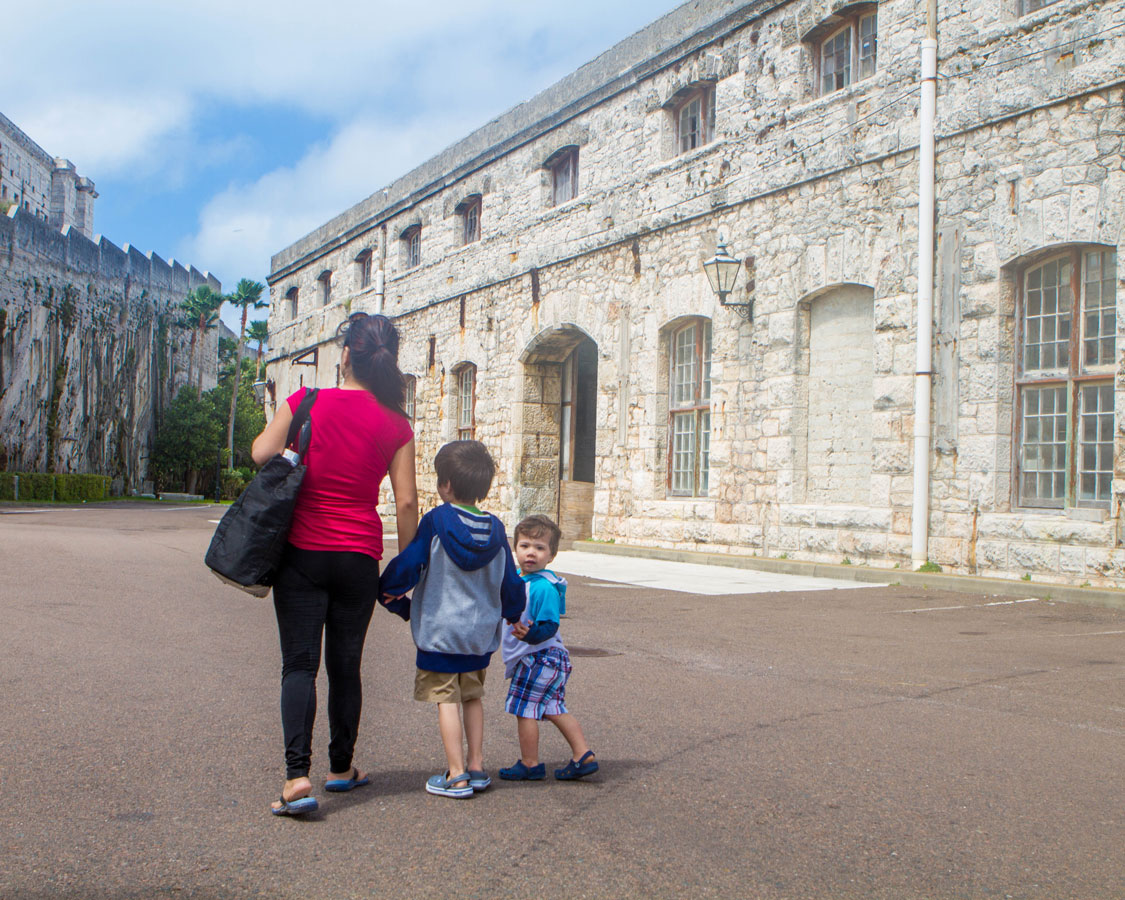 Christina and the boys explore the historical Dockyards in Bermuda with kids