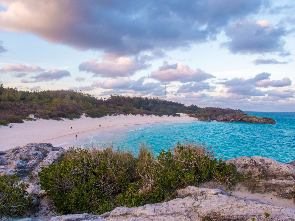 Horseshoe Bay Bermuda seen from the rocky outcrop a great place to see in Bermuda with kids