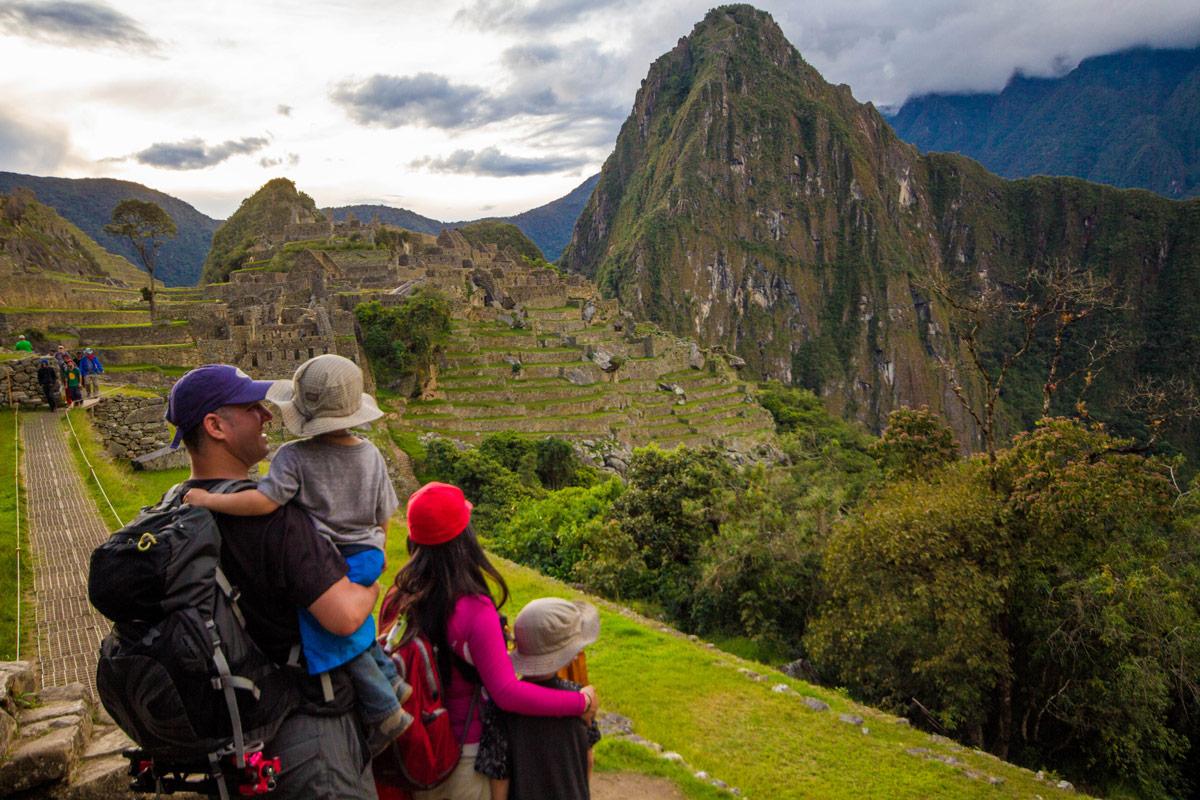 Machu Picchu with kids - One last look before leaving Machu Picchu.