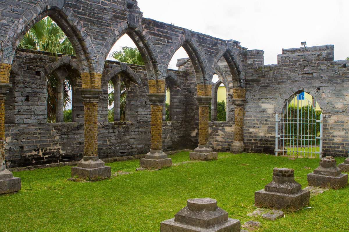The interior walls of the unfinished church in St. Georges Bermuda is a great place to explore in Bermuda with kids