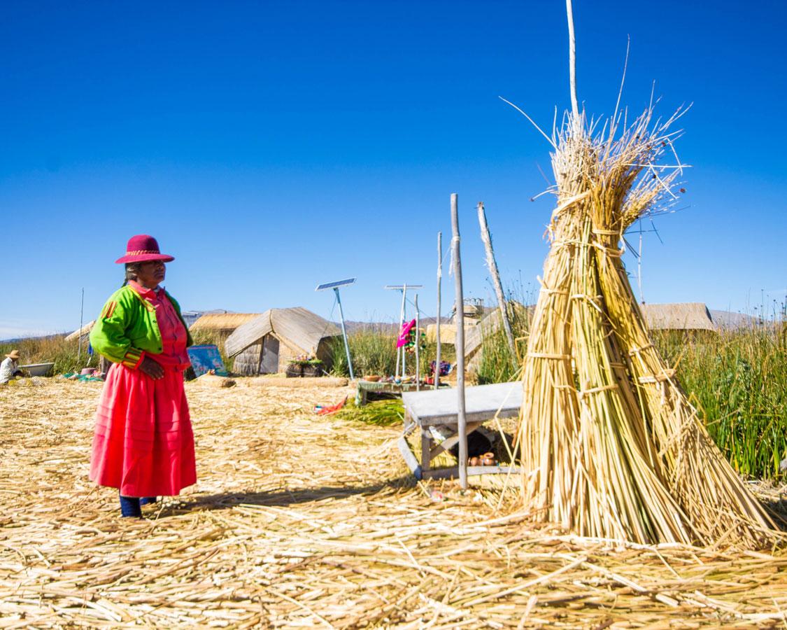 An Uros woman in bright clothing dries reeds on Isla de los Uros in Lake Titicaca Peru