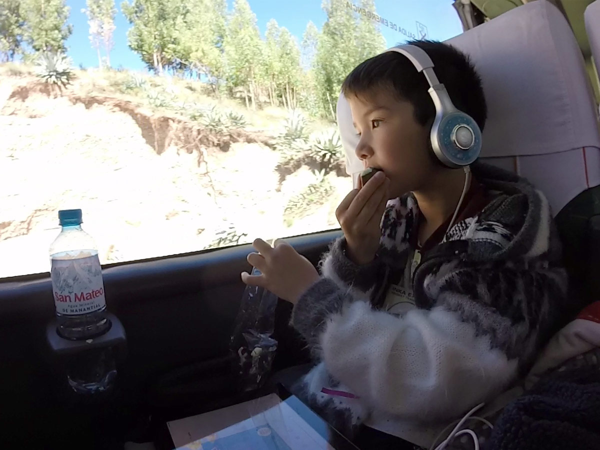 C rides the Cusco to Puno bus with Inka Express