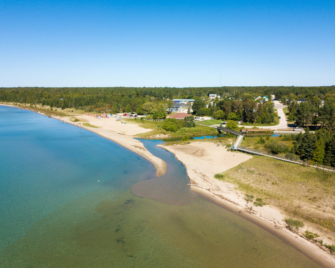 Providence Bay Manitoulin Island from above. Swimming at the beach in Providence Bay is one of the best things to do on Manitoulin Island