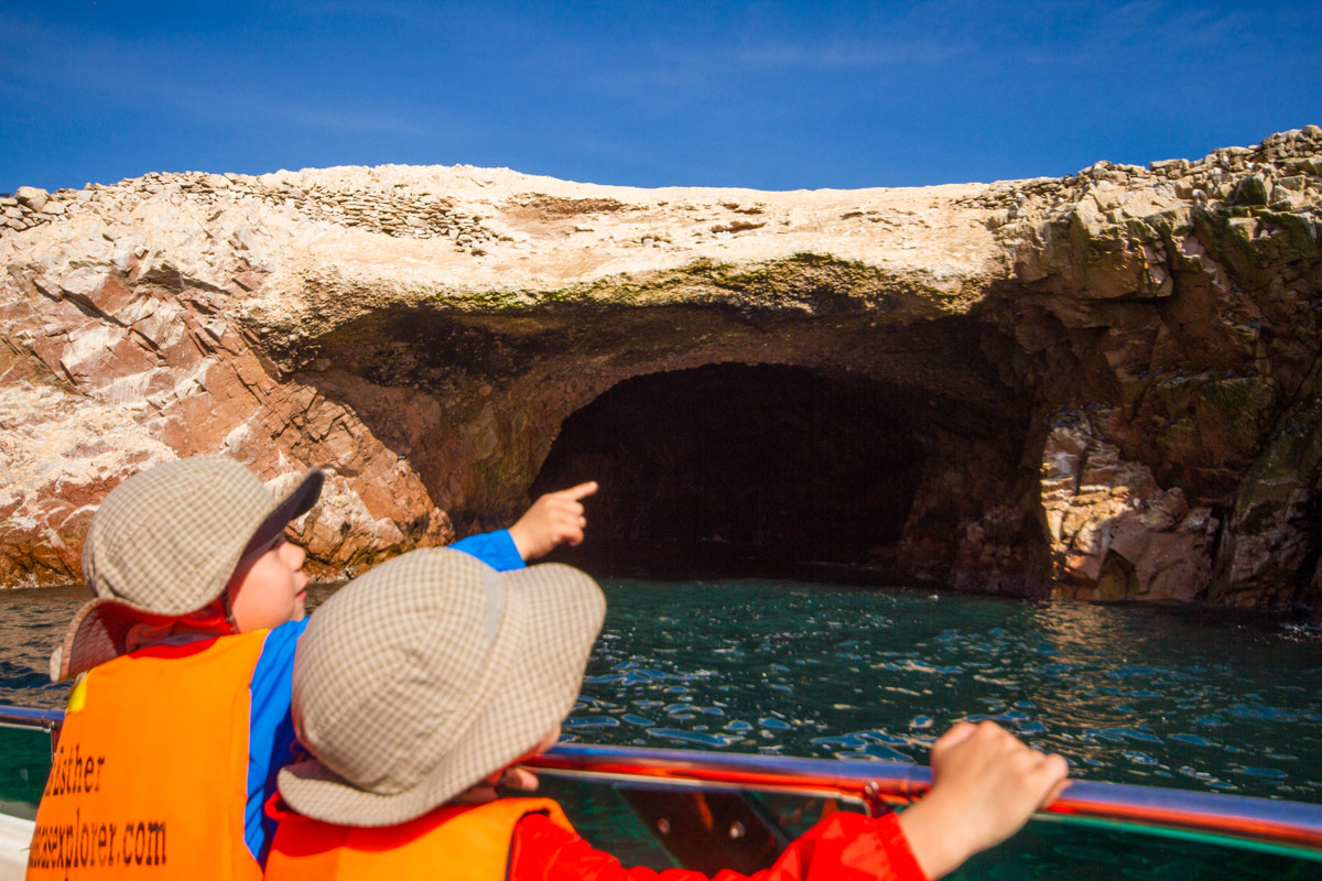 The Wandering Wagars boys point at the wildlife in Islas Ballestas in Paracas Peru