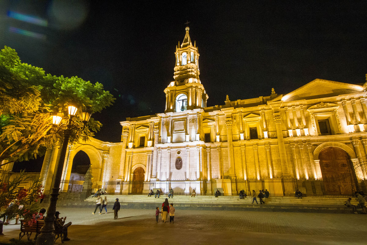 Cathedral in Arequipa Peru with kids on a 14 day Peru itinerary