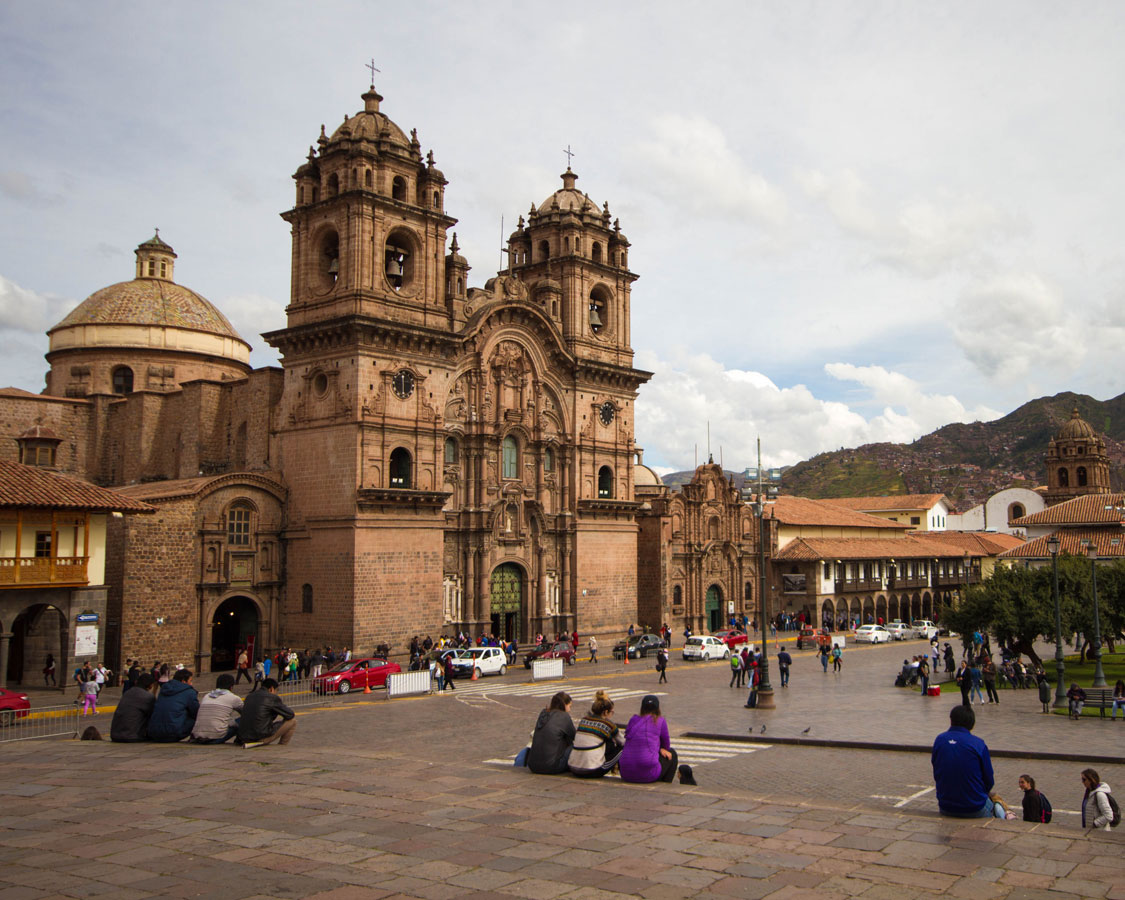 Cathedrals in the Plaza de Armas in Cusco Peru with kids on a 14 day Peru itinerary