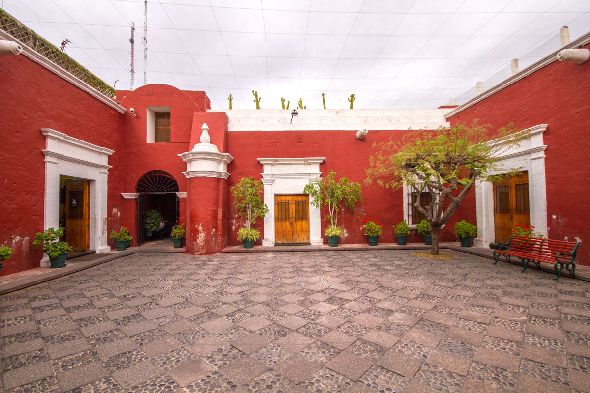 Courtyard of Catholic University of Santa Maria Museum of Andean Sanctuaries in Arequipa Peru with kids on a 14 day Peru itinerary