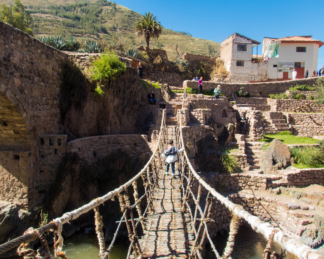Crossing the Suspension Bridge Inca and Colonial Checacupe in Peru with kids on a 14 day Peru itinerary