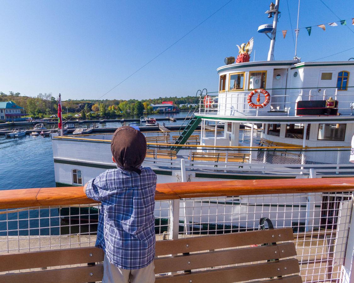 D checks out the RMS Segwun of the Lake Muskoka Steamship Cruise in Huntsville Ontario