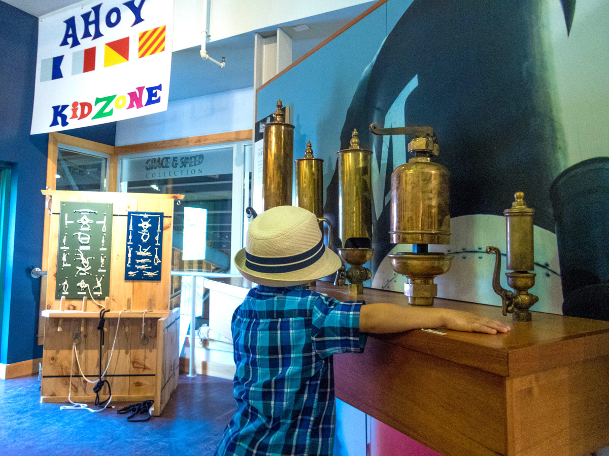 D plays with steam whistles at the Muskoka Discovery Center in Gravenhurst Ontario