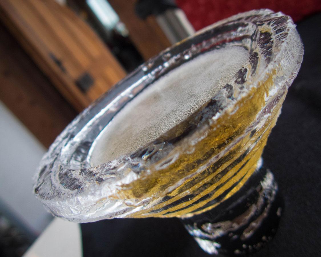 Ice glass at the Niagara Icewine Festival in Ontario Canada during winter in Niagara Falls