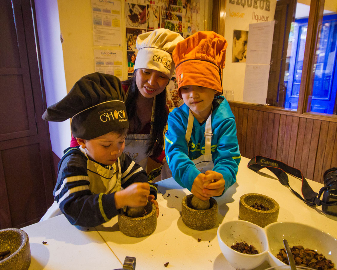 Making Chocolate at the ChocoMuseo in Cusco Peru with kids on a 14 day Peru itinerary