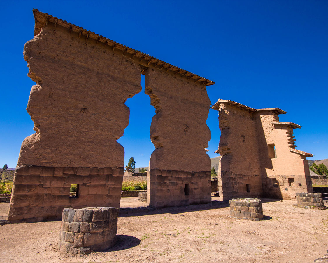 Ruins at the Archaeological Complex of Raqchi in San Pedro de Cacha Peru with kids on a 14 day Peru itinerary