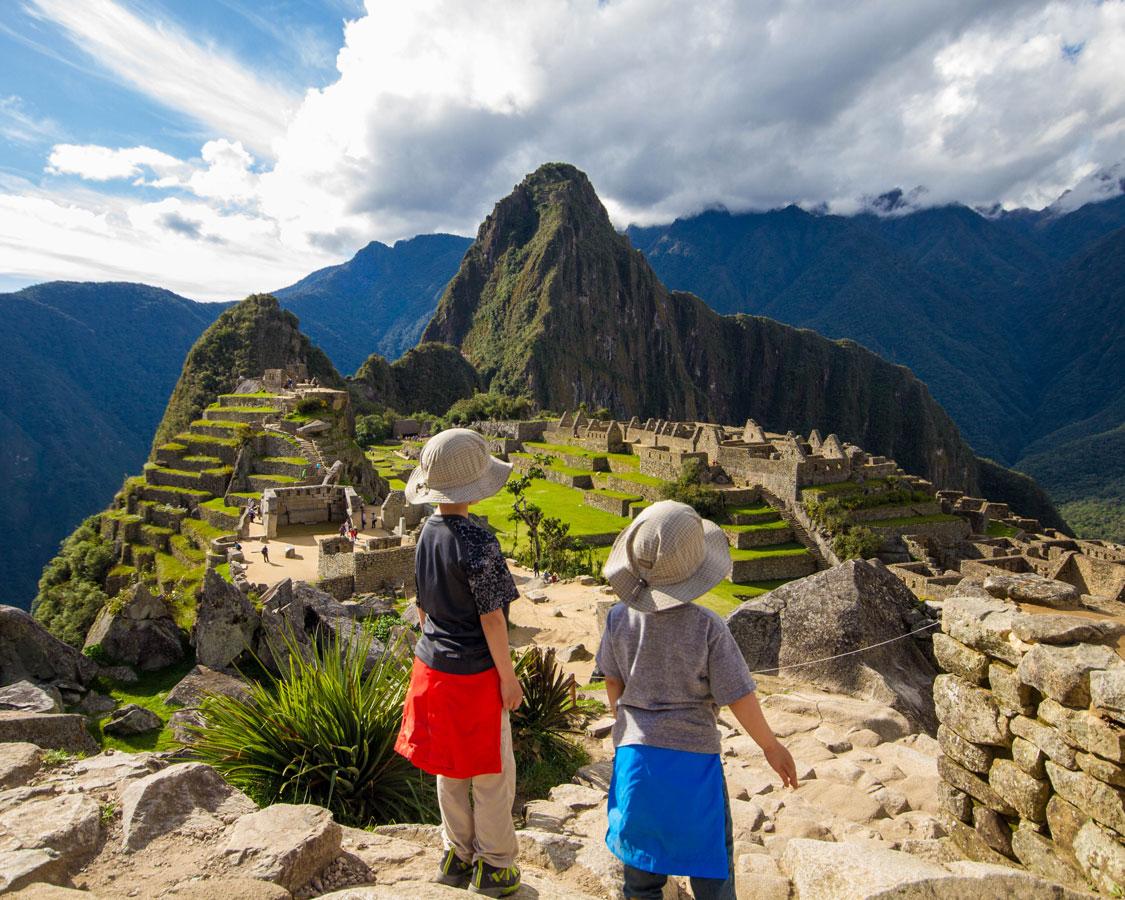 Taking in the majesty of Machu Picchu Peru with kids on a 14 day Peru itinerary