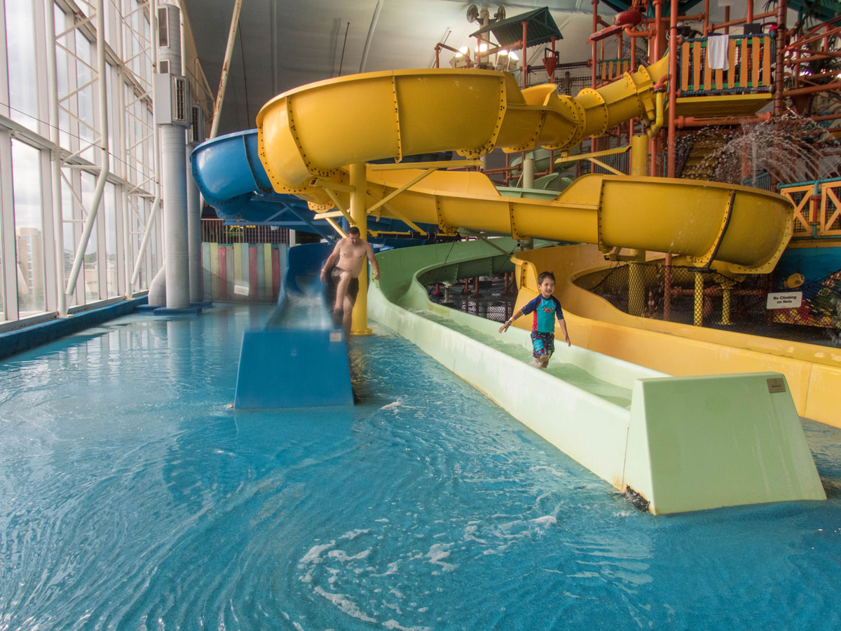 Waterslides at Fallsview Indoor Waterpark in Niagara Falls Ontario is a great way to spend winter in Niagara Falls with kids