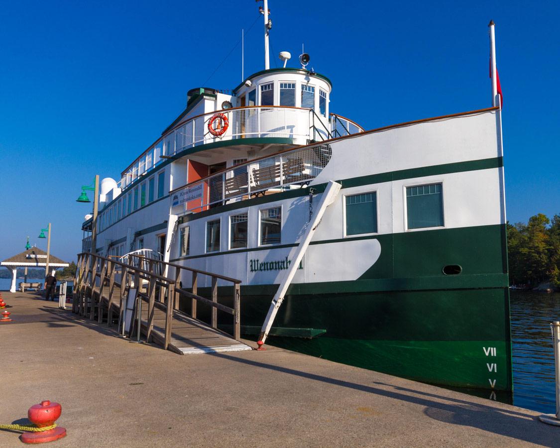 Wenonah II cruise ship on Lake Muskoka in Huntsville Ontario. The Wenonah II is an amazing way to have a Lake Muskoka Steamship Cruise