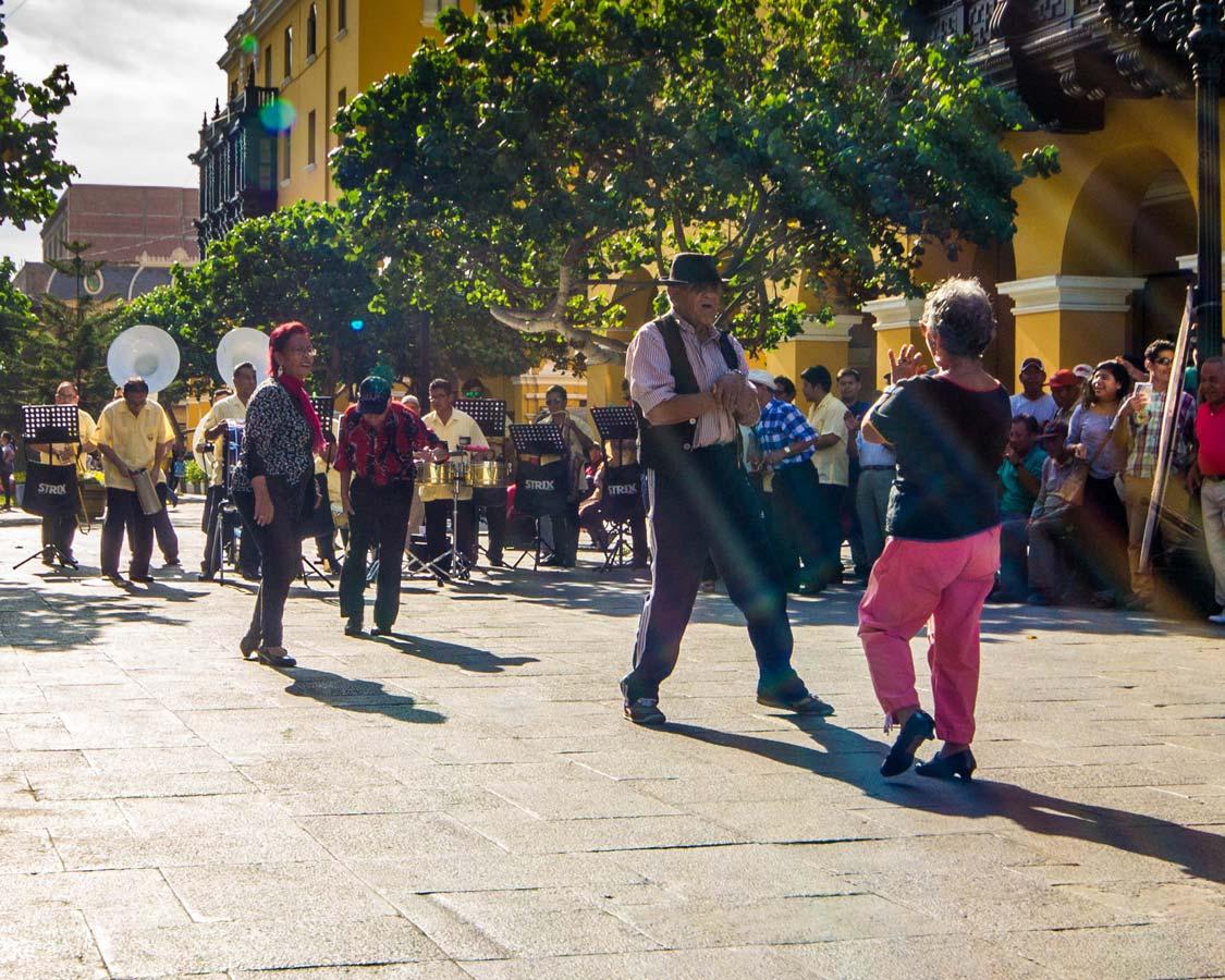 Seniors dancing near the Plaza Mayor in Lima Peru for kids