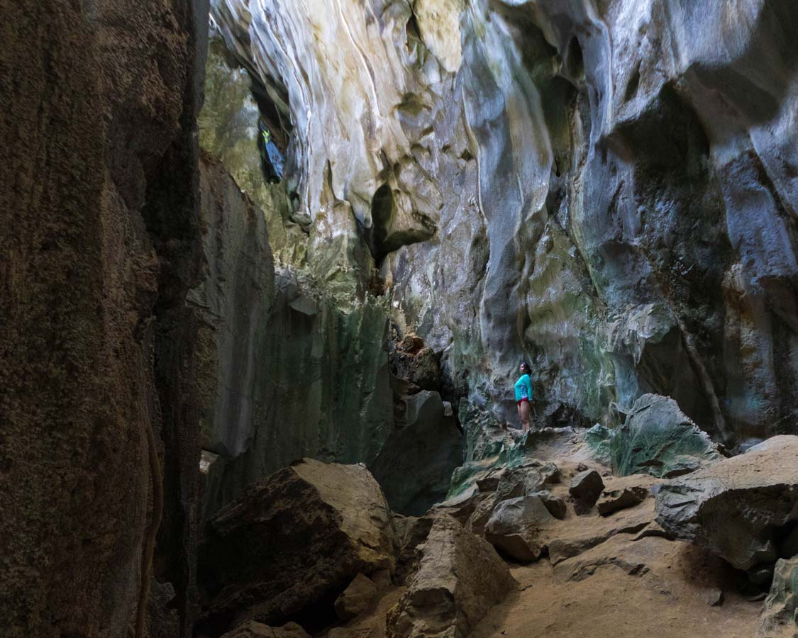 Christina Wagar stands in one of the cave in Palawan