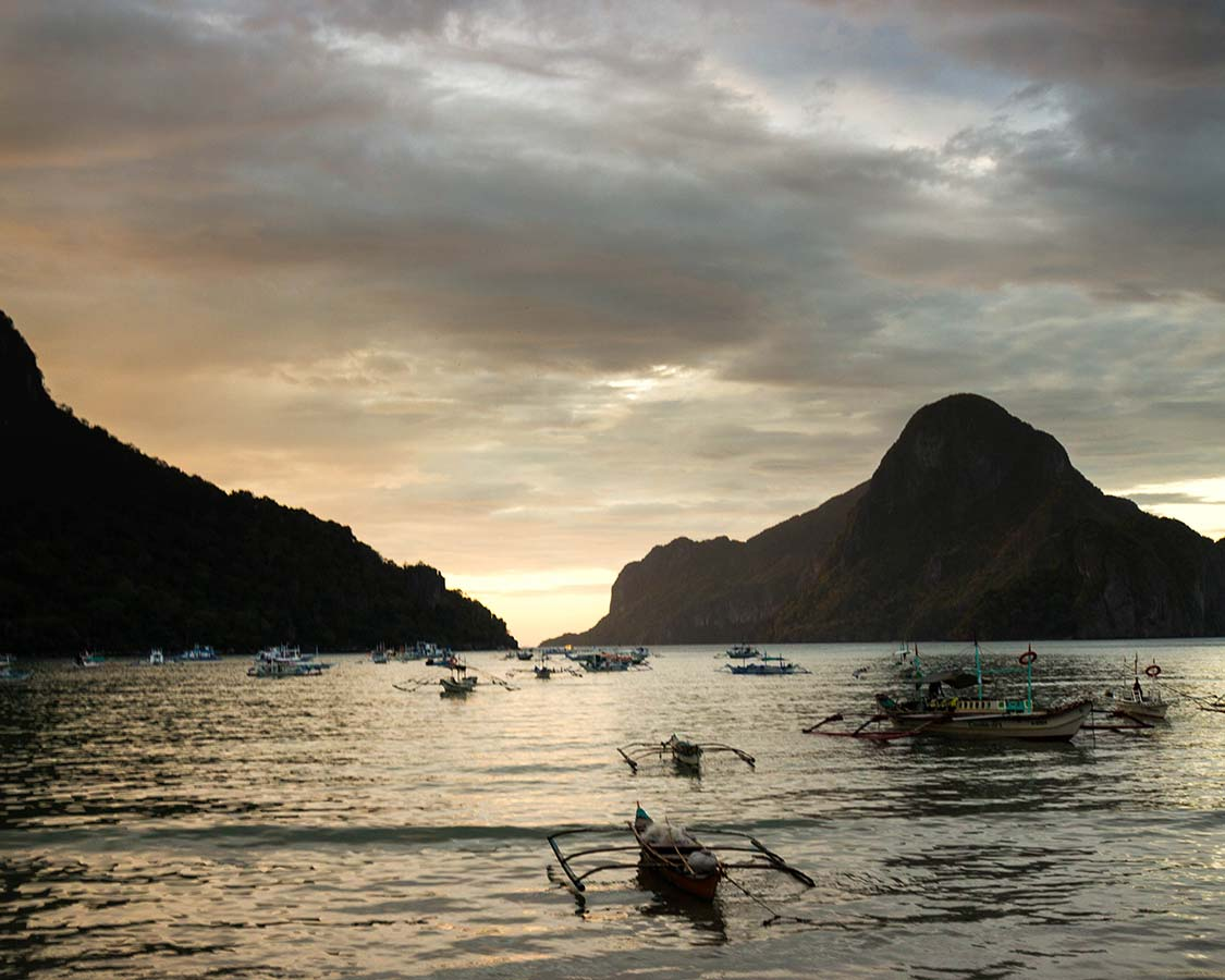 Sunset over El Nido Beach in Palawan Philippines