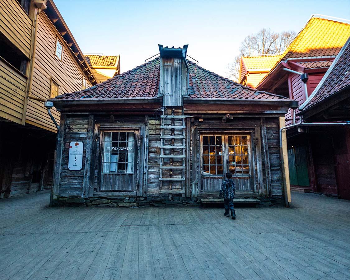 Buildings of Bryggen in Bergen Norway