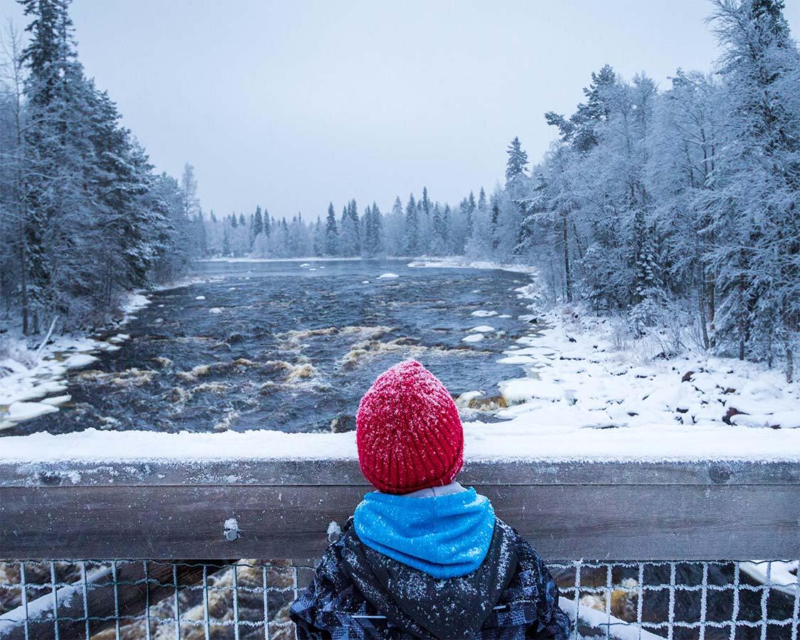 Winter hiking in Inari Finland