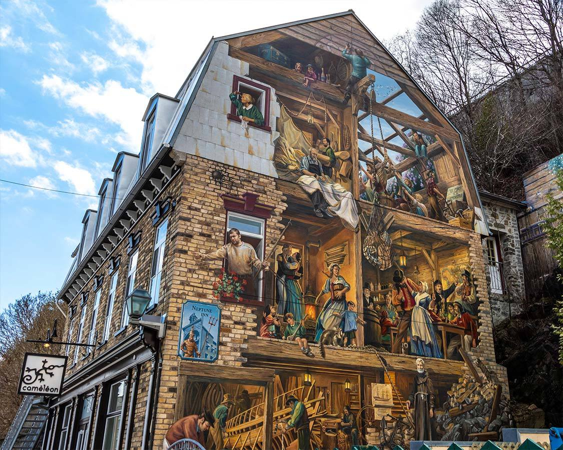 Historic Mural in Old Quebec City
