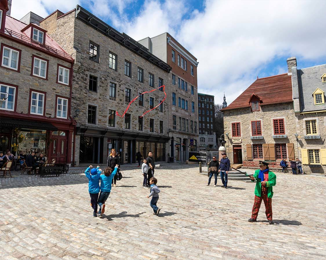 Quebec City With Kids Children Playing With Street Artist