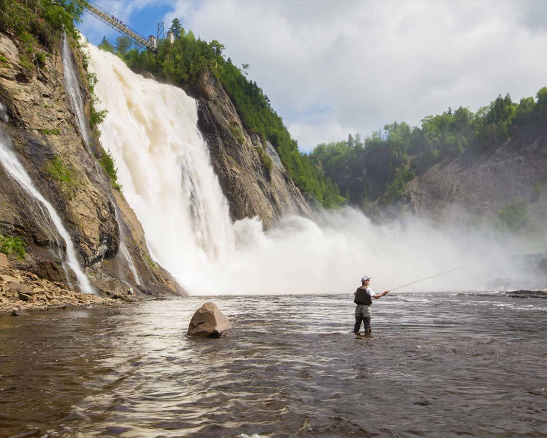 Things To Do Near Quebec City Fly Fishermen under Montmorency Falls