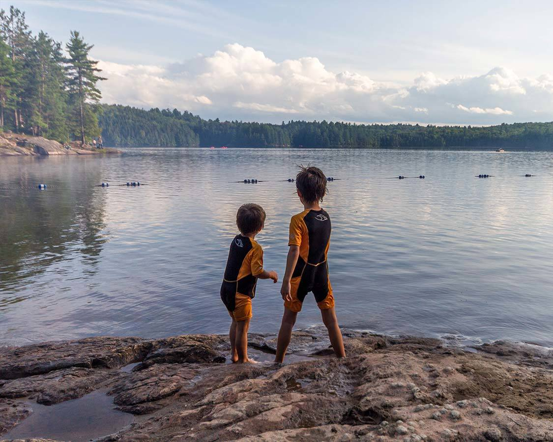 Swimming at Silent Lake with kids