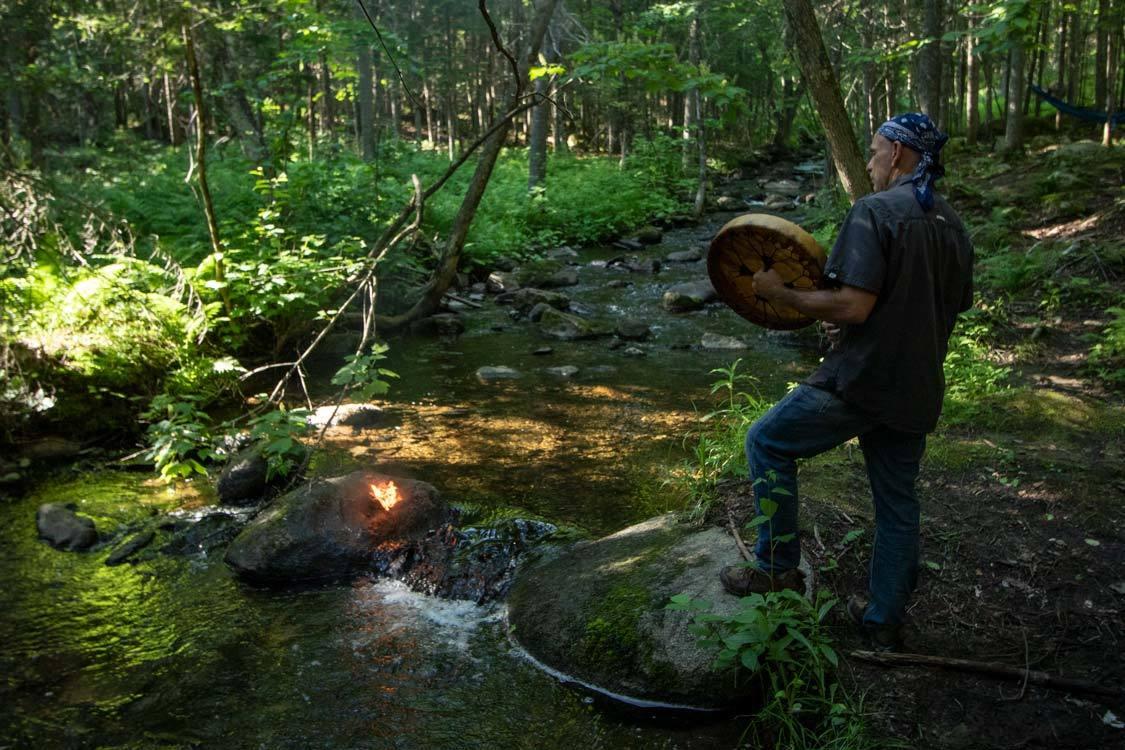 Drumming at Hebergement Aux Cinq Sens Aboriginal Tourism Quebec